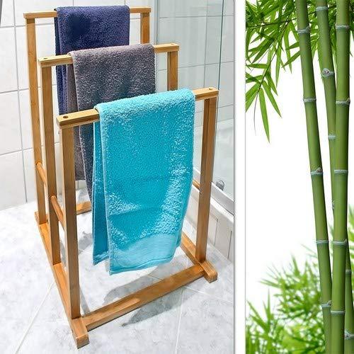 82,5 x 42 x 42,5 cm treppenf/örmiger Handtuchhalter als Standhandtuchhalter mit 3 Handtuchstangen als Badaccessoire f/ür Handt/ücher oder Herrendiener natur Relaxdays Bambus Handtuchst/änder H x B x T