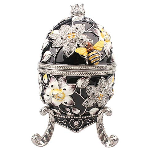 Womanloves Big Faberge Egg with bee jewerly Trinket Box Craft Metal Ring Box Collectibles