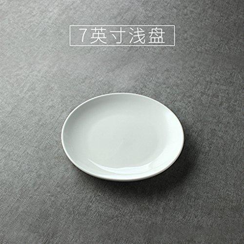 MLGG Piastra in Ceramica di Colore Bianco Puro vasellame Piatto da Dessert, Diametro 18cm