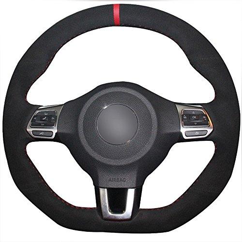 JI Loncky Black Genuine Leather Auto Custom Steering Wheel Covers for 2010-2014 VW GTI / 2012-2014 VW Jetta GLI / 2012 2013 VW Golf R / 2014-2016 VW Tiguan R-Line Accessories ()