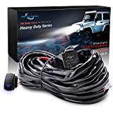 MICTUNING HD 300w LED Light Bar Wiring Harness Fuse 40 Amp Relay ON-OFF Rocker Switch Blue(1Lead)