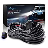 #4: MICTUNING HD 300w LED Light Bar Wiring Harness Fuse 40 Amp Relay ON-OFF Rocker Switch Blue(1Lead)