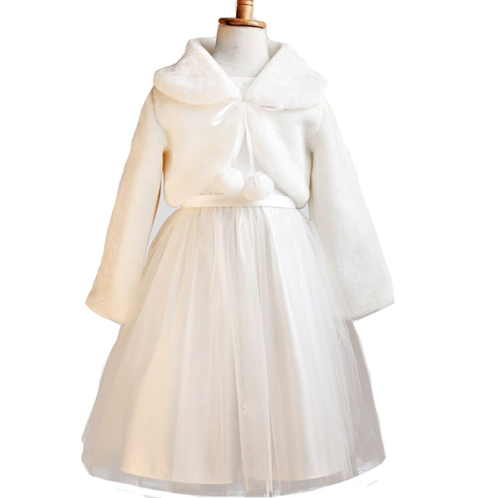 Sunnygirls White Faux Fur Flower Girl Bolero Shrug Accessories Princess Cape (8-12y)