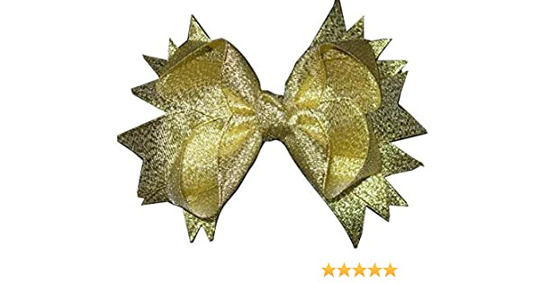 """NEW /""""METALLIC GOLD/"""" Sparkly Hairbow Alligator Clips Girls Ribbon Bows 4.5 Inch"""