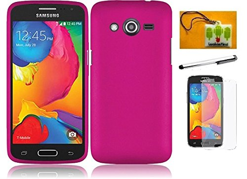 LF 4 in 1 Bundle - Hard Case Cover, Lf Stylus Pen, Screen Protctor & Wiper Compatible with (T-Mobile) Samsung Galaxy Avant G386T (Hard Pink) (Phone Samsung Faceplates)