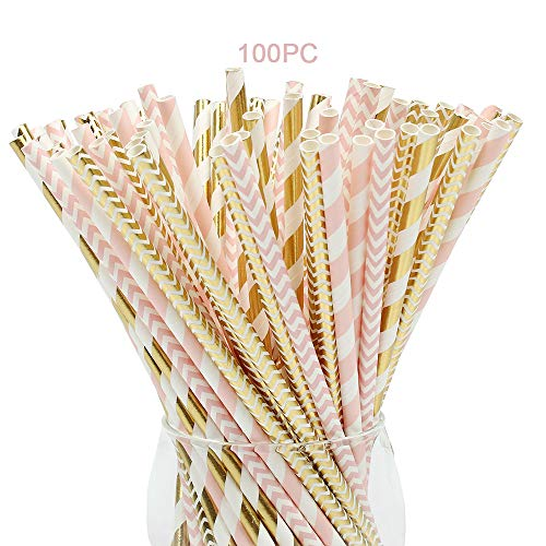 Paper Straws,100 Pack,Biodegradable Paper Drinking Straws, Pink & Gold Straws for Parties,Birthday,Baby Shower,Marriage,Engagement,Table Decoration,Carnivals and Crafts -