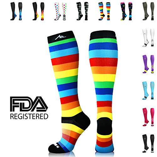 NEWZILL Compression Socks (20-30mmHg) for Men & Women (Rainbow Stripes, Medium) (Knee Running Socks)