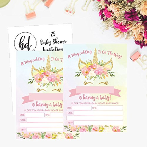 25 Pink Blush Gold Girl Unicorn Baby Shower Invitations, Cute Floral Printed Fill or Write In The Blank Invite, Flower Shabby Chic Unique Custom Vintage Coed Party Card Stock Paper Supplies Decoration by Hadley Designs (Image #4)