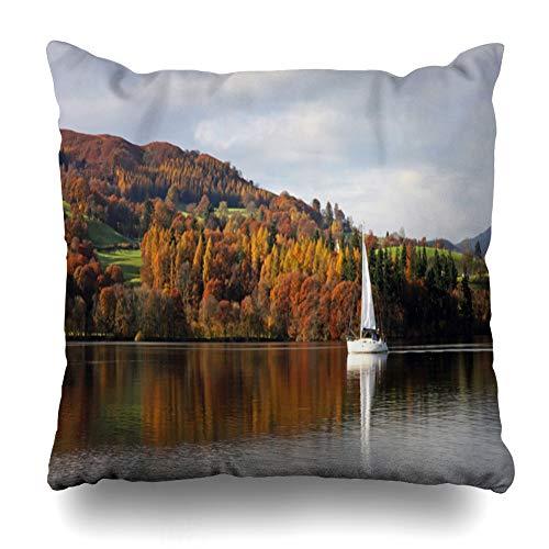 Suesoso Decorative Pillows Case 20 X 20 Inch Yacht Autumn Lake Light Blue Throw Pillowcover Cushion Decorative Home Decor Garden Sofa Bed Car