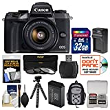 Canon EOS M5 Wi-Fi Digital ILC Camera & EF-M 15-45mm IS STM Lens with 32GB Card + Backpack + Battery & Charger + Tripod + 3 Filters Kit