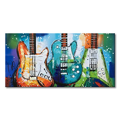 Music Canvas Art Guitar Wall Decor Musical Instrument Oil Painting Hand Painted Abstract Modern Blue and Green Picture Home Decoration Framed and Stretched 40W x 20H