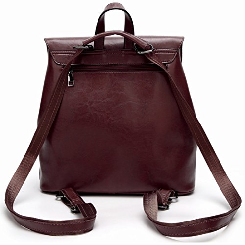 Red color Dark Bolsos Hombro Mujeres Solo Cuero Bolso Las Wine Jakiload Brown Suaves De AqwpRP