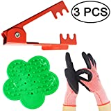 TIHOOD 3PCS Professional Rose Leaf Thorn Stripper Kit Stripping Tool Thorn Remover for Roses & Garden Glove (2 Kinds of Rose Leaf Thorn Strippers+1 Pair Glove)