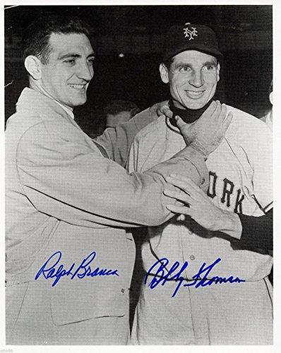 BOBBY THOMSON + RALPH BRANCA DUAL SIGNED BROOKLYN DODGERS vs NEW YORK GIANTS (Babe Ruth Brooklyn Dodgers)