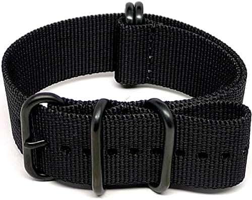 DaLuca Ballistic Nylon NATO Watch Strap - Black (PVD Buckle) : 24mm