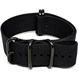 DaLuca Ballistic Nylon NATO Watch Strap - Black (PVD Buckle)