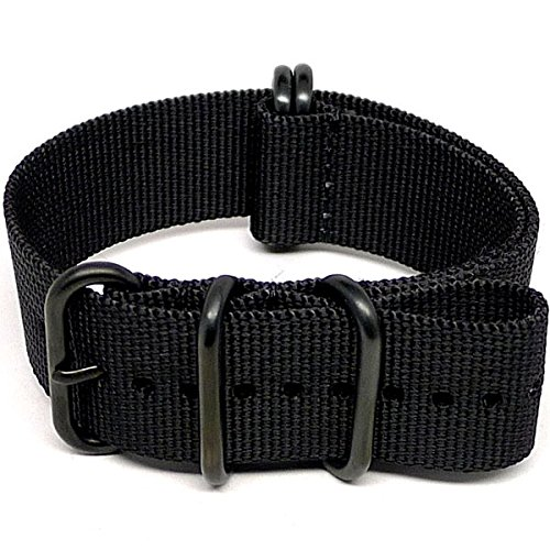 DaLuca Ballistic Nylon NATO Watch Strap - Black - Black Pvd Watch