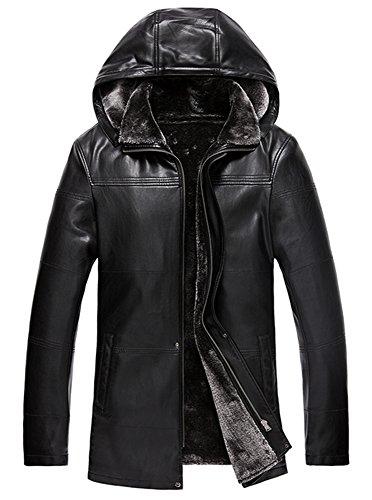 men Hooded leather jacket winter coat Warm Lamb Wool Lini...