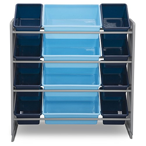 515qbbeOYML - Delta Children Kids Toy Storage Organizer with 12 Plastic Bins, Grey/Blue, Grey/Blue