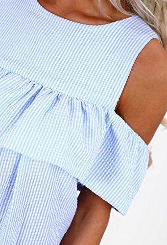 d49ce16763cf ... Sommerkleider Damen Kleider Kurz Elegant Schulterfrei Cut Out Mit Rüschen  Cocktailkleid Gestreift Rundhals Festlich Minikleid Loose ...