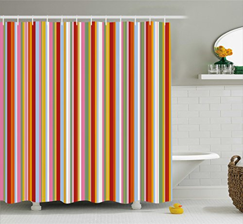 Ambesonne Retro Shower Curtain, Vertical Striped Pattern in Vibrant Colors Artistic Funky Grunge Geometric Artwork, Fabric Bathroom Decor Set with Hooks, 70 Inches, Multicolor