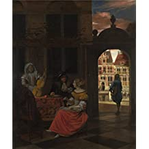 Oil painting 'Pieter de Hooch A Musical Party in a Courtyard ' printing on Perfect effect canvas , 20 x 24 inch / 51 x 61 cm ,the best Foyer decor and Home artwork and Gifts is this Cheap but High quality Art Decorative Art Decorative Prints on Canvas