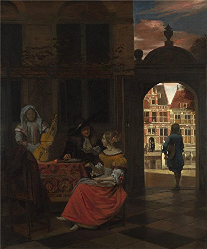 The Polyster Canvas Of Oil Painting 'Pieter De Hooch A Musical Party In A Courtyard ' ,size: 20 X 24 Inch / 51 X 61 Cm ,this High Quality Art Decorative Canvas Prints Is Fit For Home Theater Decoration And Home Artwork And Gifts