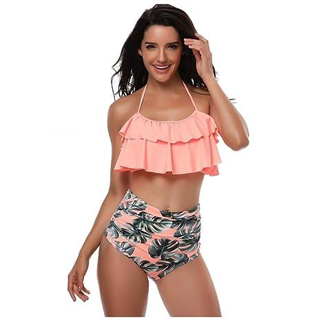 Traje De Baño De Mujer Halter Tallas Grandes Bikinis Dos ...