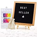 Letter Board Set: 10x10 Inches Oak-Framed Black Felt Changeable Letter Board Sign, with 340 Letters, Numbers, Characters & Emojis, Free Canvas Bag, Letter Organiser Box, Stand and Wall Mount