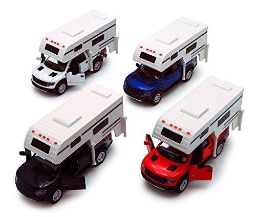 KiNSMART 2013 Ford F-150 SVT Raptor SuperCrew Pickup w/ Camper, Set of 4 5502D - 1/46 Scale Diecast Model Toy Cars (Truck W Camper)