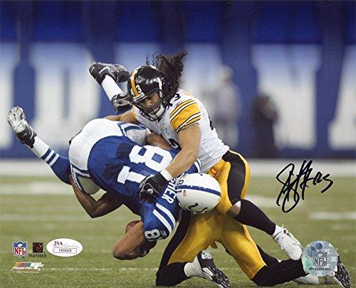 (Troy Polamalu Autographed Pittsburgh Steelers 8x10 Photo (Tackle) - JSA COA)