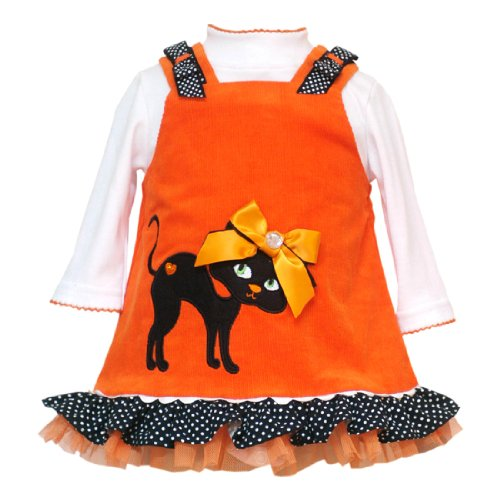 Rare Editions Baby/NEWBORN 2-Piece ORANGE BLACK KITTEN KITTY CAT APPLIQUE BOW SHOULDER CORDUROY JUMPER Girl Party Dress