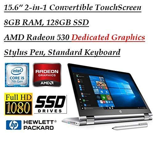 (2018 Newest Flagship HP X360 15.6 Inch Full HD Touchscreen 2-in-1 Convertible Laptop with Stylus Pen (Intel Core i5-7200U, 8GB RAM, 128GB SSD, AMD Radeon 530 2GB Dedicated Graphics, HDMI, Bluetooth))