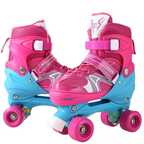 Christmas Gifts New Year Gifts Dtemple Adjustable Double Row Skate Aluminum Breathable PU Mesh Roller Skates for Indoor Outdoor (pink, (Bullet Roller Skate)