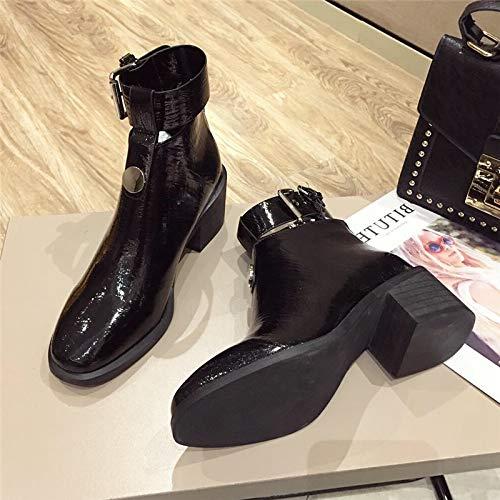 LBTSQ Fashion Damenschuhe Straße Foto - Lokomotiv - Stiefel Heel Heel Stiefel 5Cm Mode Gürtel Lack Dicke Sohle Stiefel Schwarz Ritter - Stiefel fb99a6