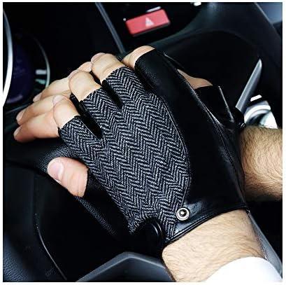 手袋 日常 実用 レザーグローブメンズハーフフィンガーゴシックアウトドアフィットネスグローブ (Color : BLACK-B, Size : XL)
