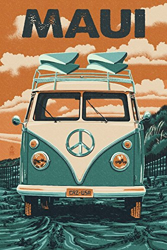 Maui, Hawaii - VW Van - Letterpress (24x36 SIGNED Print Master Giclee Print w/ Certificate of Authenticity - Wall Decor Travel Poster) by Lantern Press