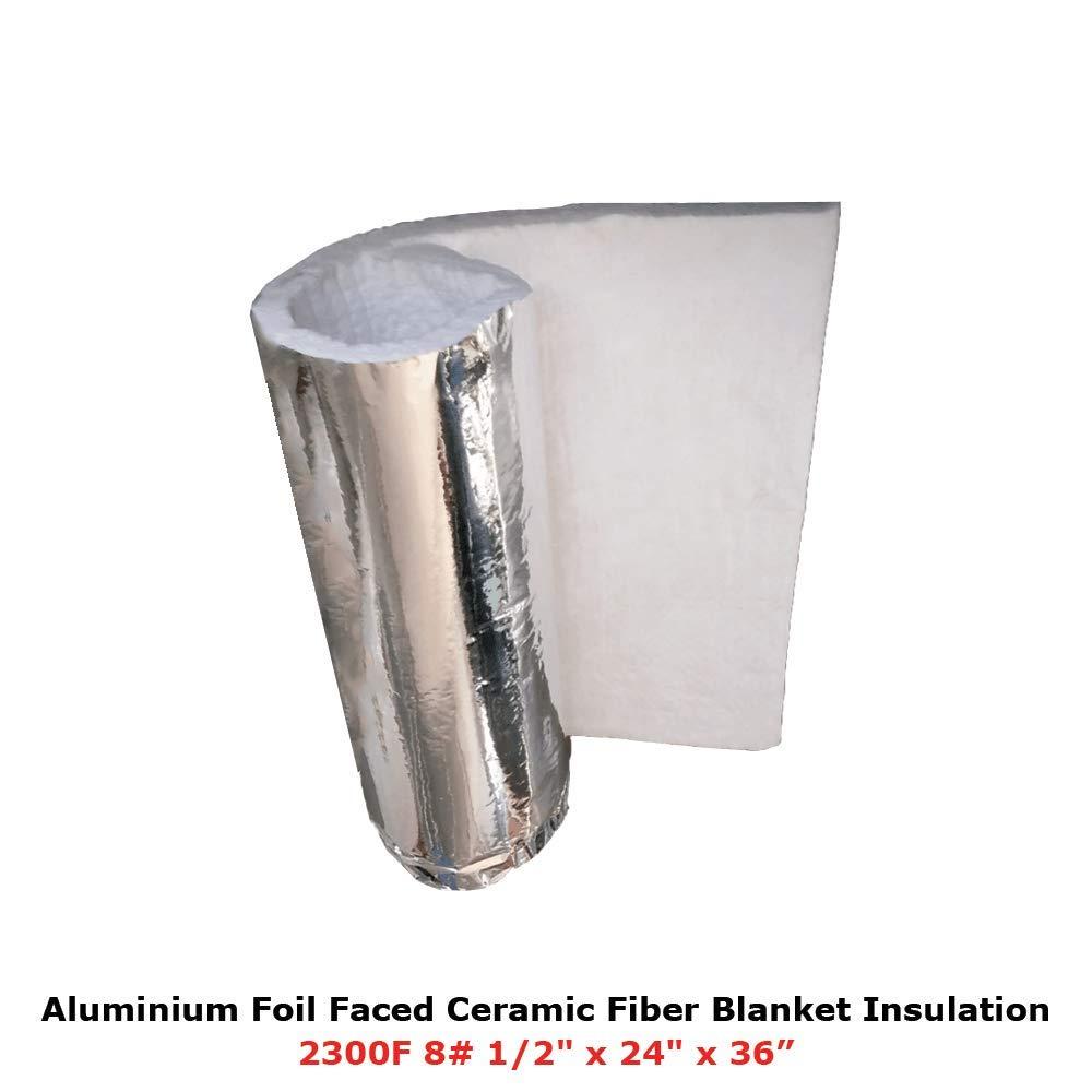 1/2'' Aluminium Foil Faced Ceramic Fiber Blanket Insulation 8# 2300F 24'' X 36''