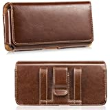 LUXMO Genuine Leather Case Fits iPhone 7 Plus 6 Plus, Horizontal Premium Leather Holster Pouch Belt Clip Carrying Phone Cover Case with Magnetic Closure for iPhone 8 Plus 6s Plus Galaxy S8 (Brown)