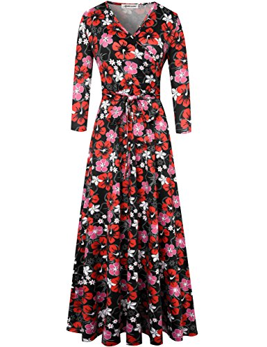 Aphratti Women's Casual Fall Dress 3/4 Sleeve Faux Wrap Long Maxi Dress XL Red