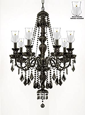 "Crystal Chandelier Lighting Chandeliers W/ Candle Votives H30"" W26"" - For Indoor / Outdoor Use! Great for Outdoor Events, Hang from Trees / Gazebo / Pergola / Porch / Patio / Tent !"