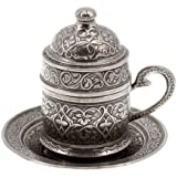 Copper Turkish Coffee Espresso Ottoman Cup & Saucer (Antique Silver)