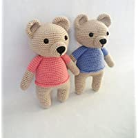 crochet teddy bear, knitted toy, baby toy, teddy for baby girl or baby boy