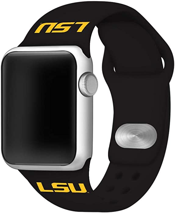 AFFINITY BANDS LSU Tigers Silicone Sport Watch Band Compatible with Apple Watch (42mm/44mm - Black)
