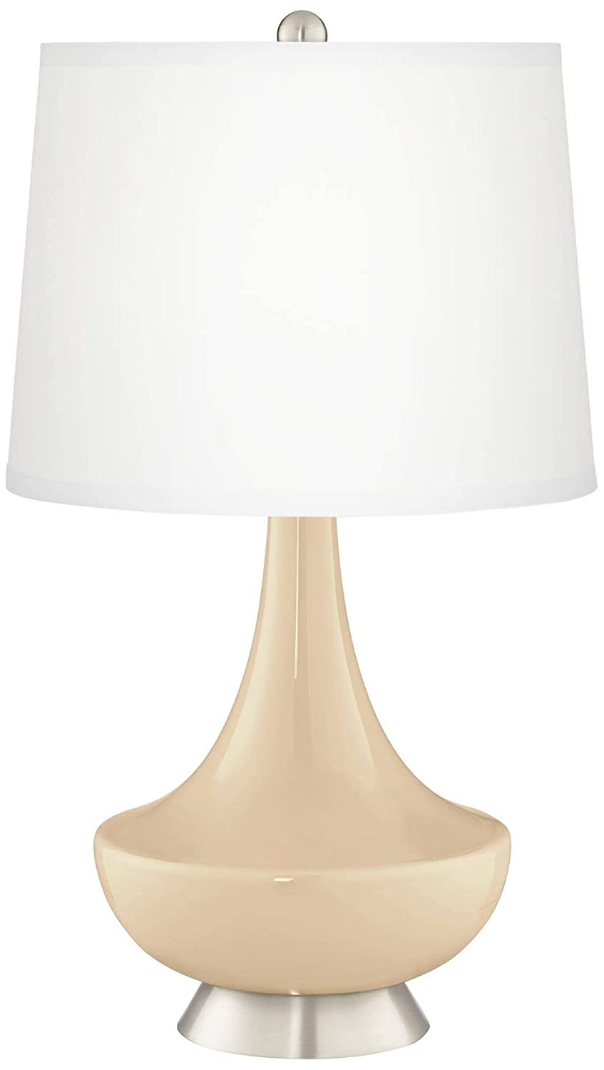 Gillan Modern Table Lamp Clear Glass Fillable White Drum Shade For Living  Room Family Bedroom Bedside Nightstand Office   Color + Plus     Amazon.com