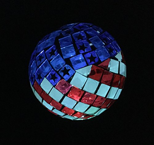 Solar USA Flag Ball LED Lights, Solar Mosaic Americana Globe Garden Stake Outdoor Yard Decor Landscape Color Changing LED Lamp Lights, Great Gift (Flag Lights Usa)