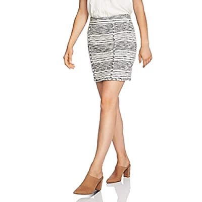 1 State Fringe Trim Tweed Pencil Skirt, Size 8 - Black at Women's Clothing store