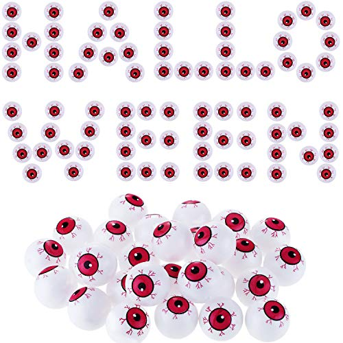 Jovitec 30 Pieces Hollow Plastic Eyeballs Halloween Eyeball Toys Ping Pong Eyeball for Cosplay Haunted House Party Favor