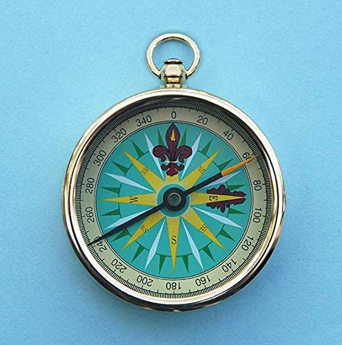 Stanley London Engravable 2-inch Open Faced Brass Pocket Compass (Plain)