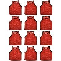 BlueDot Trading 12 Red adultas deportivas pinnies-12 chalecos de entrenamiento scrimmage